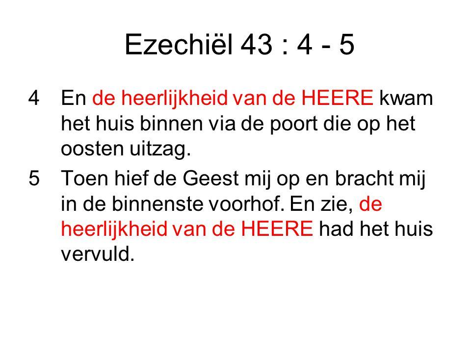 Ezechiël 43 : 4 - 5 4 En de heerlijkheid van de HEERE kwam het huis binnen via de poort die op het oosten uitzag.