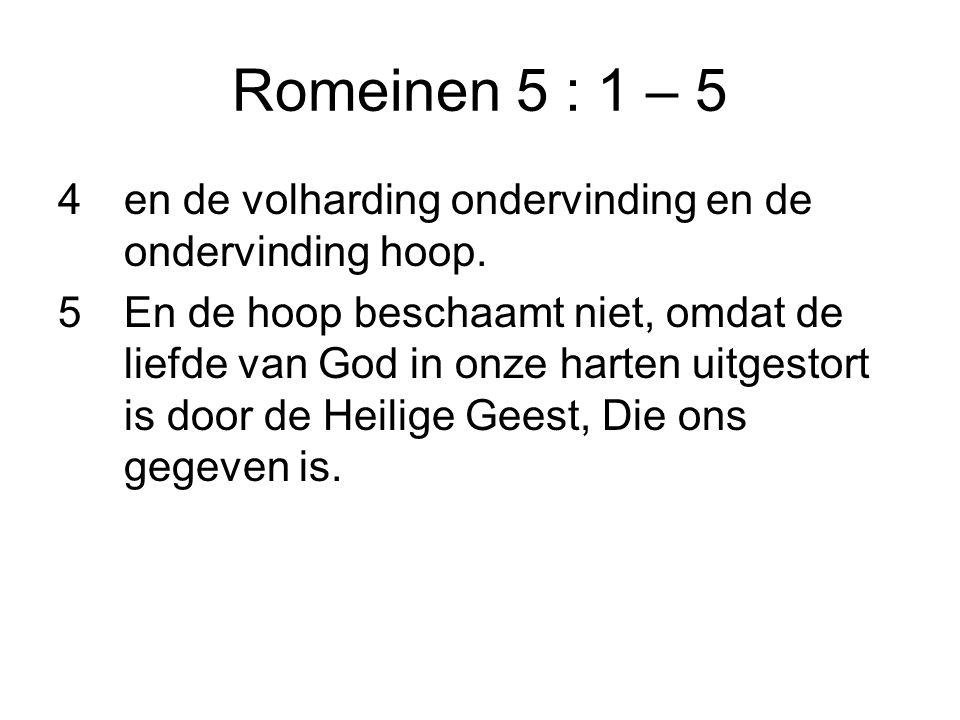 Romeinen 5 : 1 – 5 en de volharding ondervinding en de ondervinding hoop.