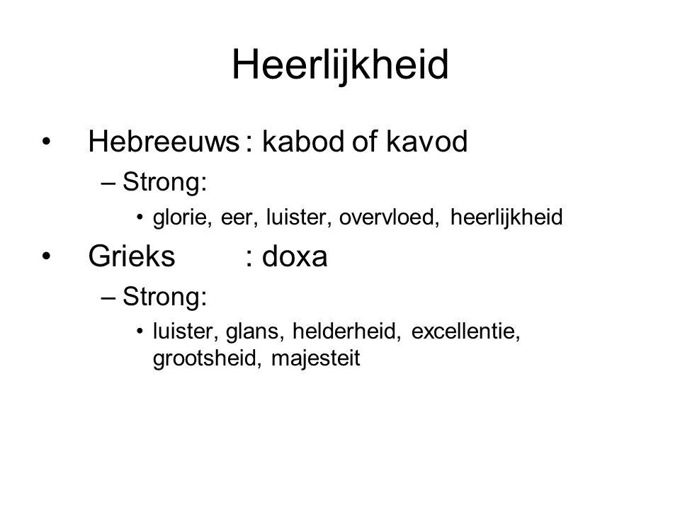 Heerlijkheid Hebreeuws : kabod of kavod Grieks : doxa Strong: