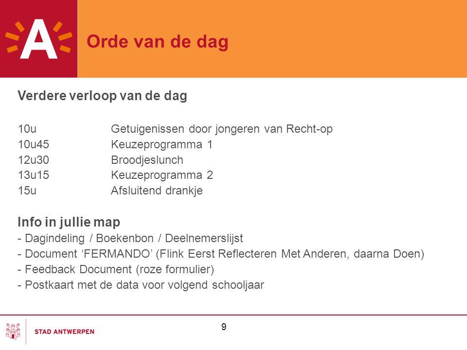 Orde van de dag Verdere verloop van de dag Info in jullie map