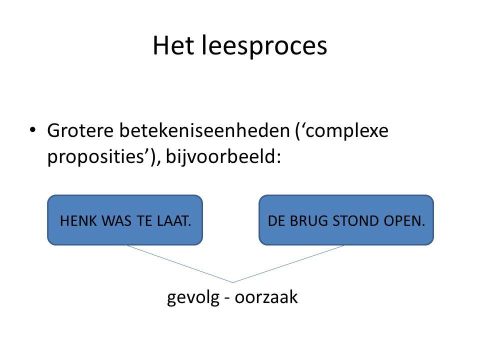 Het leesproces Grotere betekeniseenheden ('complexe proposities'), bijvoorbeeld: HENK WAS TE LAAT.