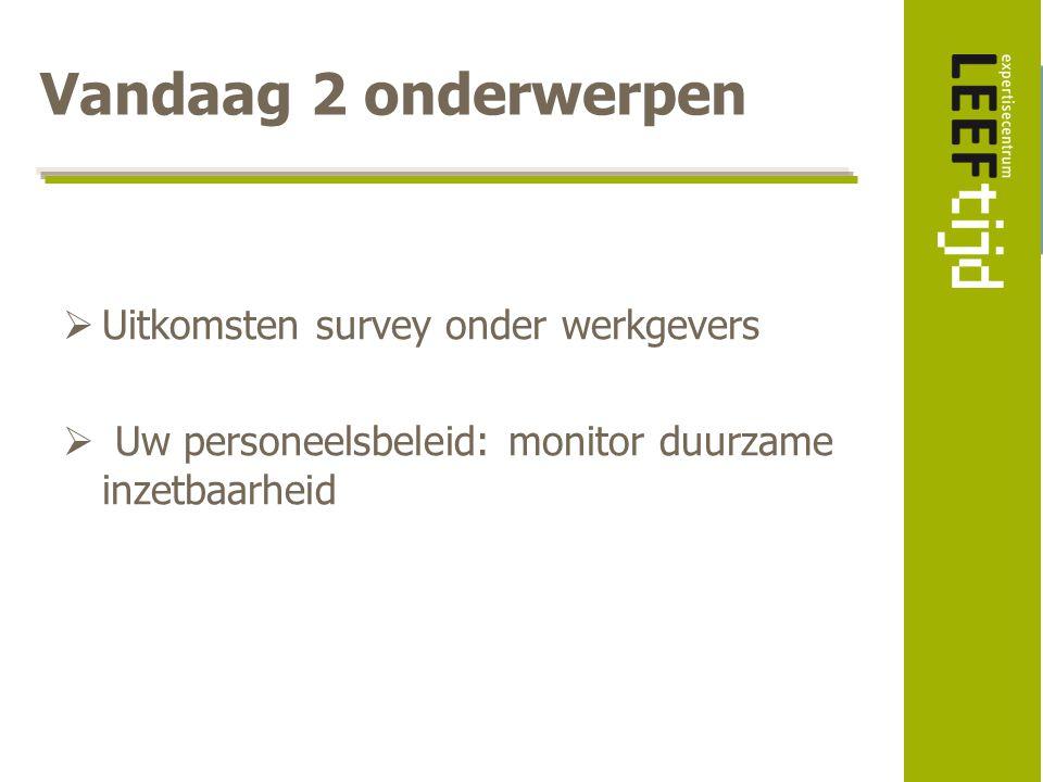 Vandaag 2 onderwerpen Uitkomsten survey onder werkgevers