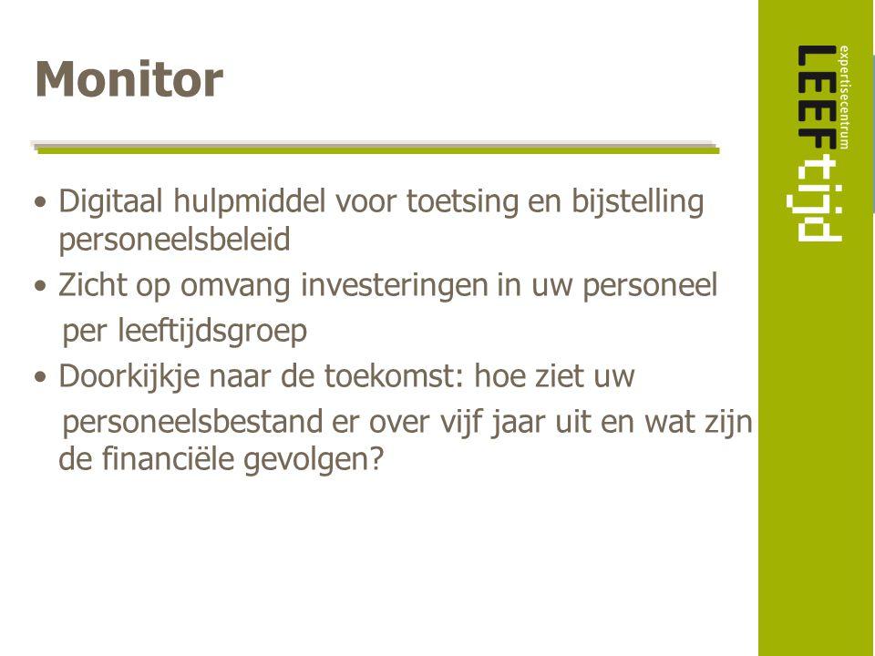 Monitor Digitaal hulpmiddel voor toetsing en bijstelling personeelsbeleid. Zicht op omvang investeringen in uw personeel.