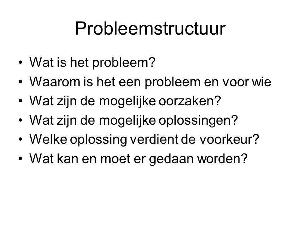 Probleemstructuur Wat is het probleem