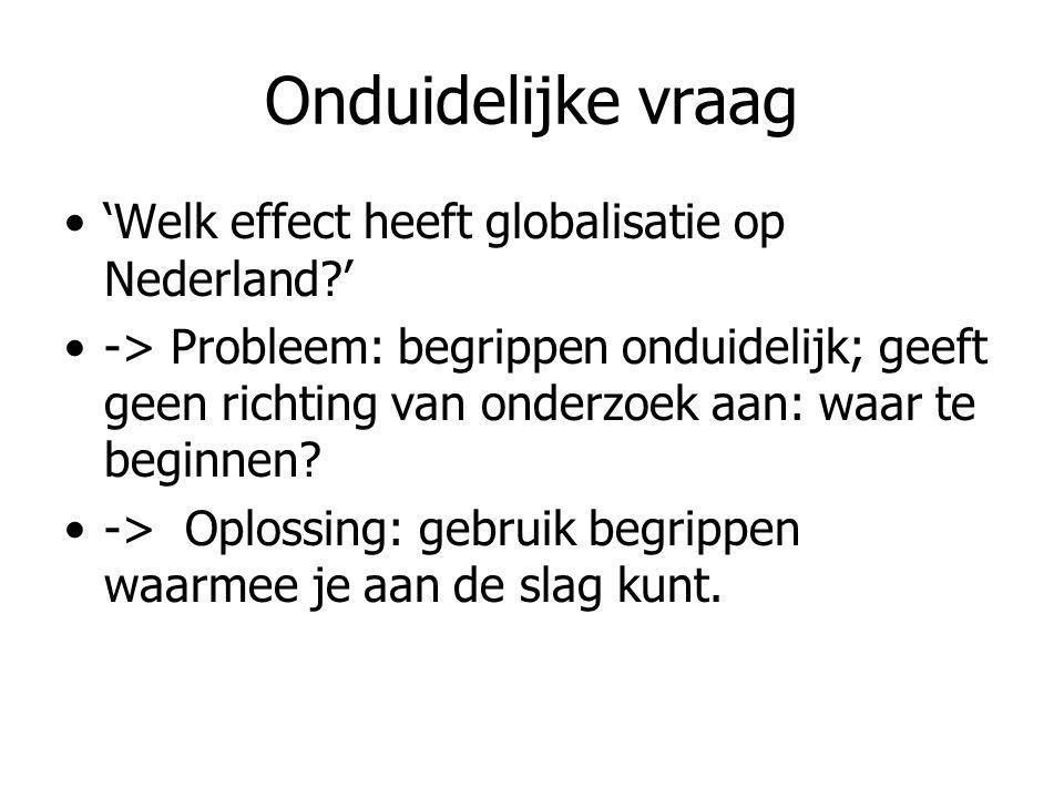 Onduidelijke vraag 'Welk effect heeft globalisatie op Nederland '