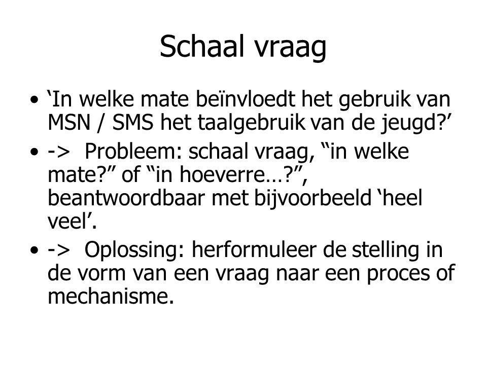 Schaal vraag 'In welke mate beïnvloedt het gebruik van MSN / SMS het taalgebruik van de jeugd '