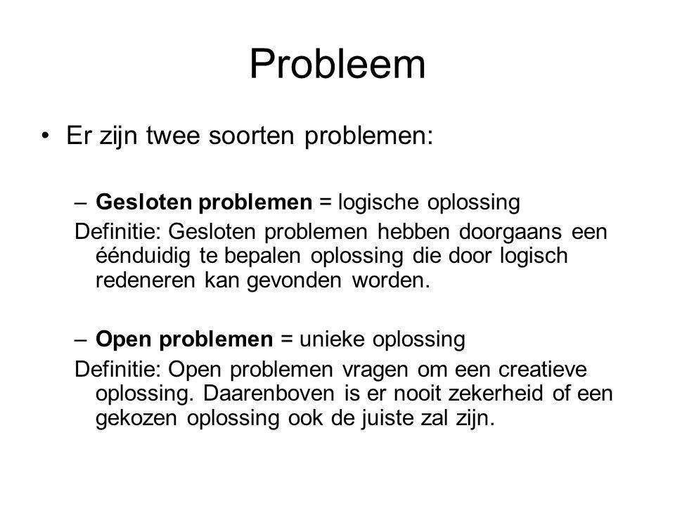 Probleem Er zijn twee soorten problemen: