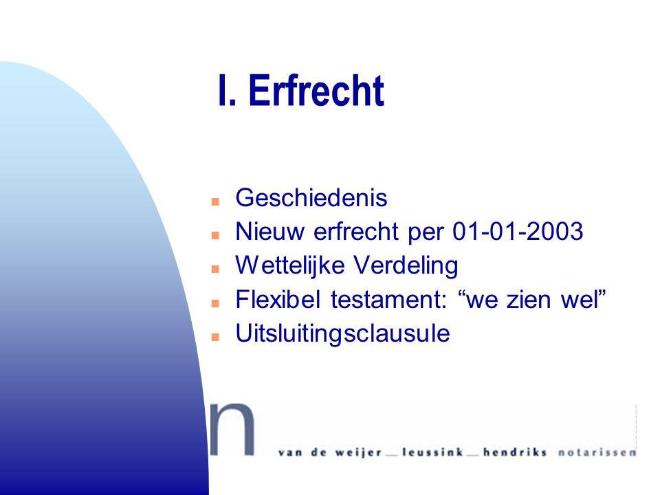 I. Erfrecht Geschiedenis Nieuw erfrecht per 01-01-2003