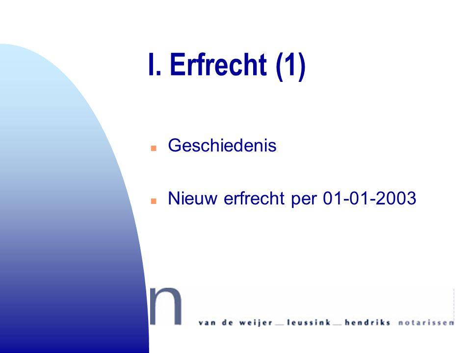 I. Erfrecht (1) Geschiedenis Nieuw erfrecht per 01-01-2003