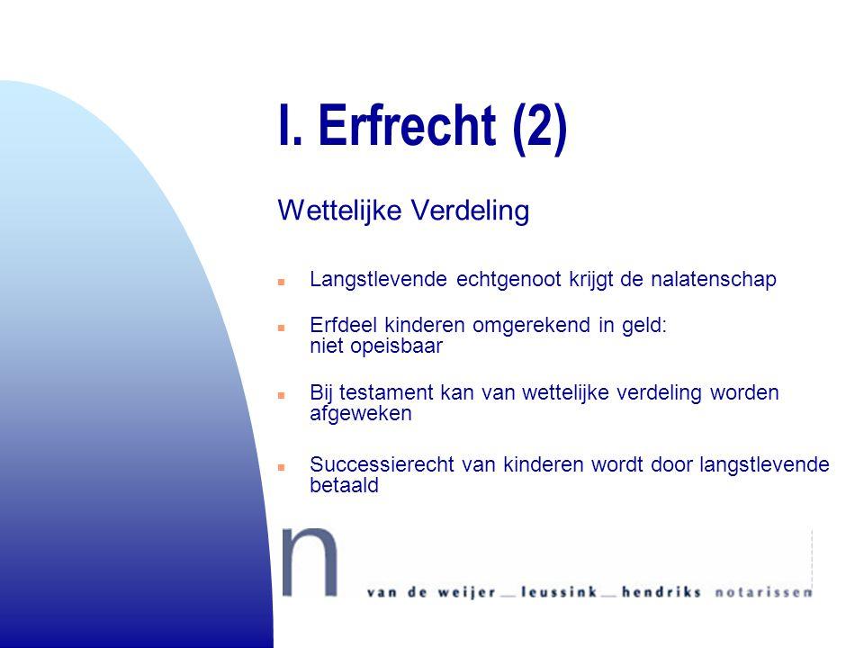 I. Erfrecht (2) Wettelijke Verdeling