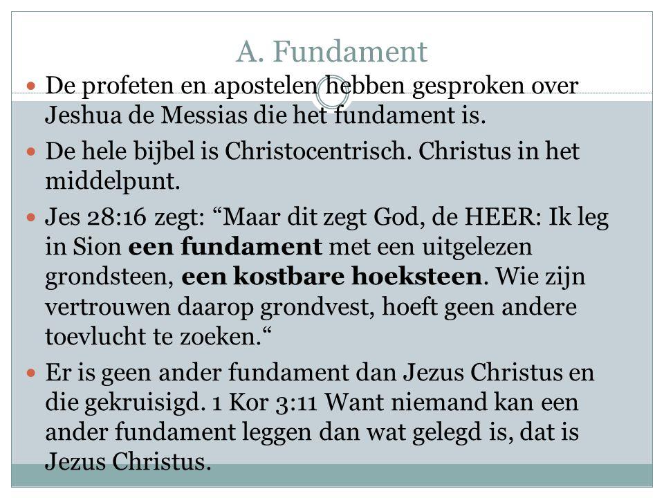 A. Fundament De profeten en apostelen hebben gesproken over Jeshua de Messias die het fundament is.