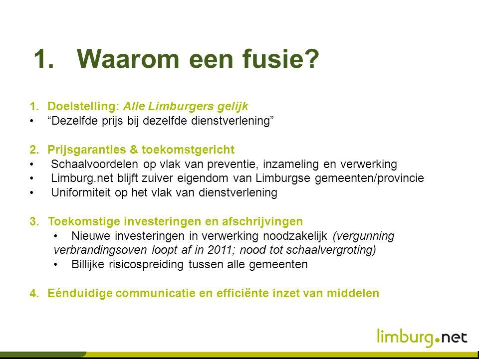 Waarom een fusie Doelstelling: Alle Limburgers gelijk