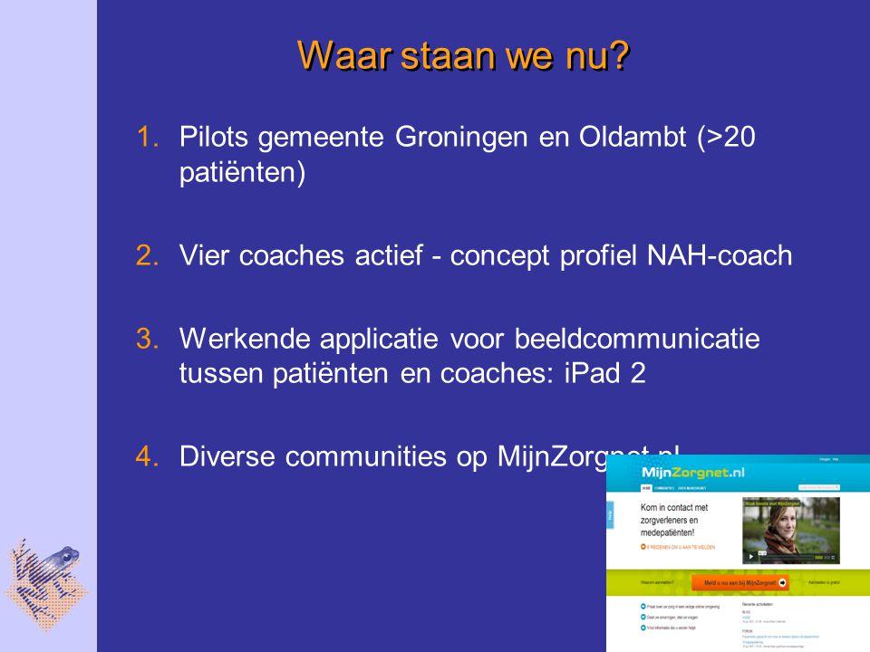 Waar staan we nu Pilots gemeente Groningen en Oldambt (>20 patiënten) Vier coaches actief - concept profiel NAH-coach.