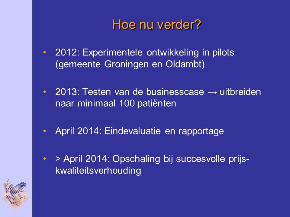 Hoe nu verder 2012: Experimentele ontwikkeling in pilots (gemeente Groningen en Oldambt)