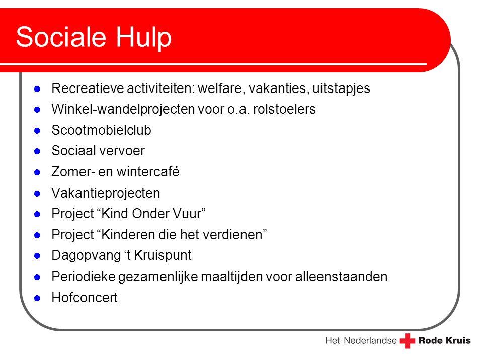 Sociale Hulp Recreatieve activiteiten: welfare, vakanties, uitstapjes