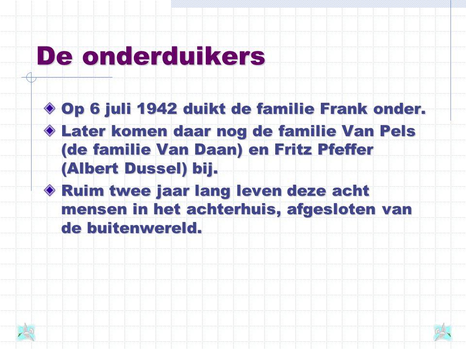 De onderduikers Op 6 juli 1942 duikt de familie Frank onder.