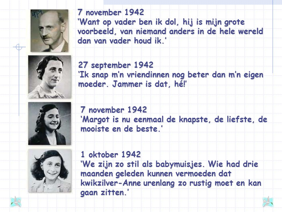 7 november 1942 'Want op vader ben ik dol, hij is mijn grote voorbeeld, van niemand anders in de hele wereld dan van vader houd ik.'