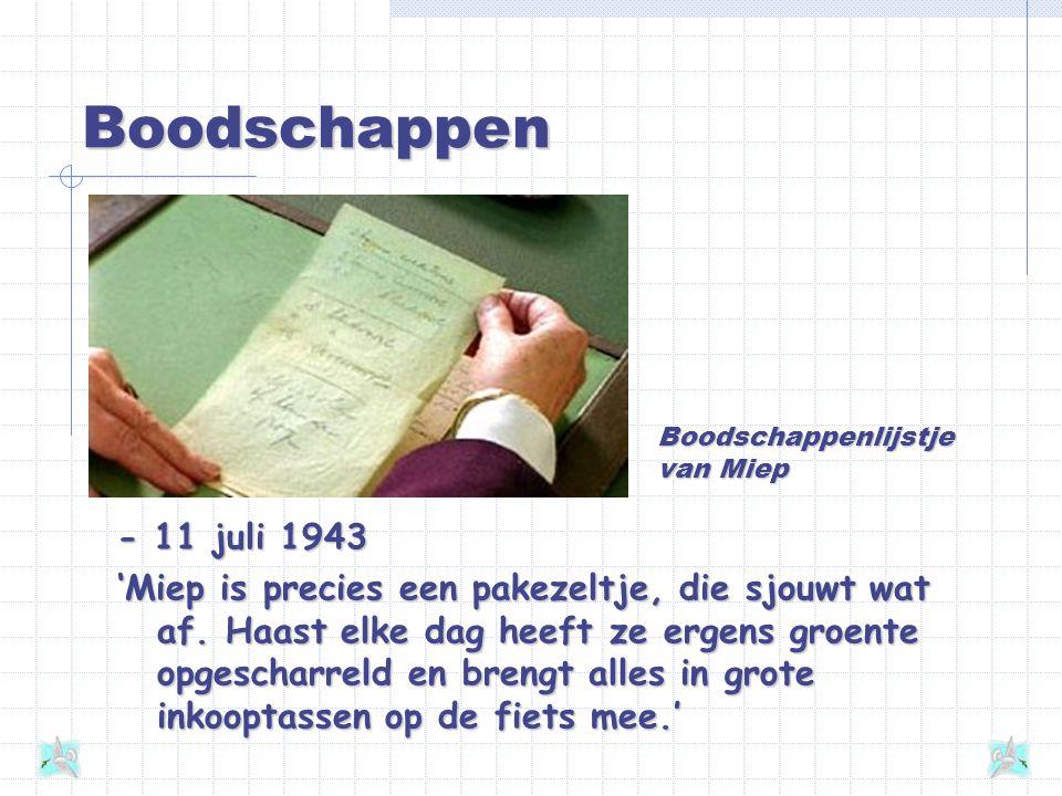 Boodschappen Boodschappenlijstje van Miep. - 11 juli 1943.