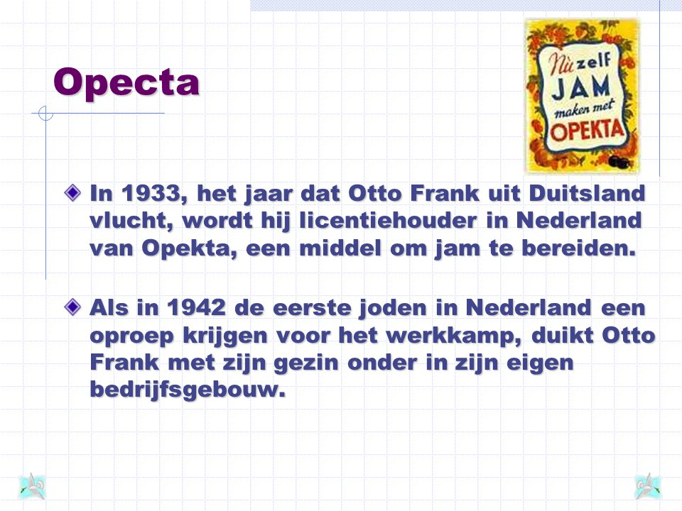 Opecta In 1933, het jaar dat Otto Frank uit Duitsland vlucht, wordt hij licentiehouder in Nederland van Opekta, een middel om jam te bereiden.