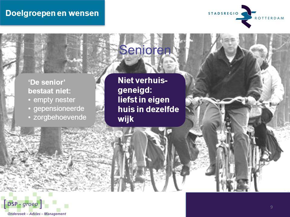 Senioren Doelgroepen en wensen Niet verhuis-geneigd: