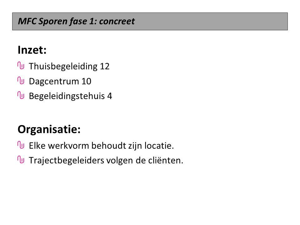 Inzet: Organisatie: MFC Sporen fase 1: concreet Thuisbegeleiding 12