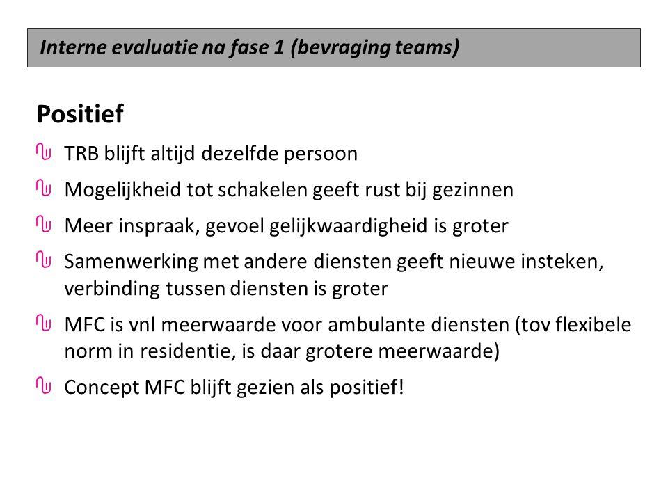 Positief Interne evaluatie na fase 1 (bevraging teams)