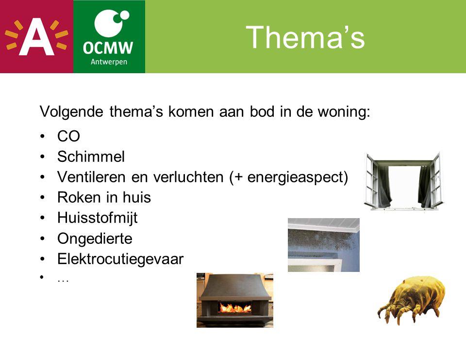 Thema's Volgende thema's komen aan bod in de woning: CO Schimmel