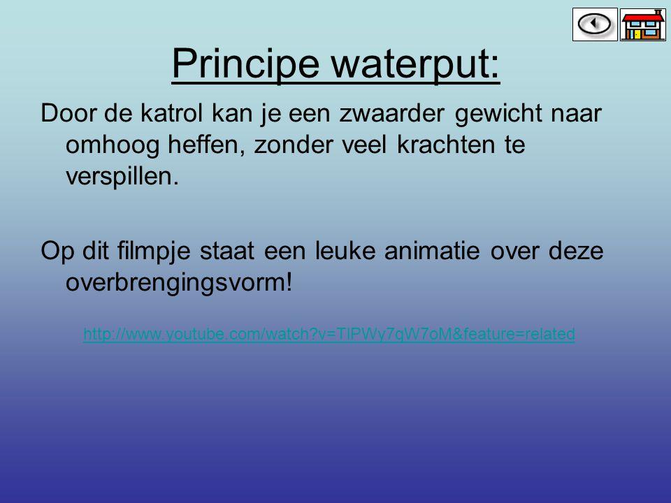 Principe waterput: Door de katrol kan je een zwaarder gewicht naar omhoog heffen, zonder veel krachten te verspillen.