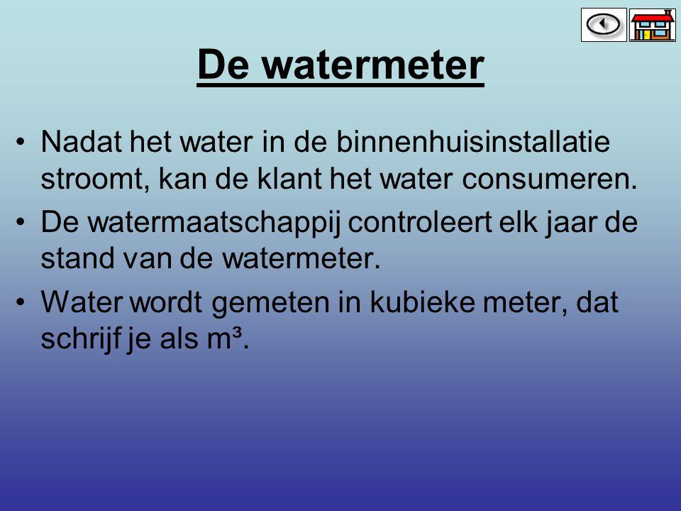 De watermeter Nadat het water in de binnenhuisinstallatie stroomt, kan de klant het water consumeren.