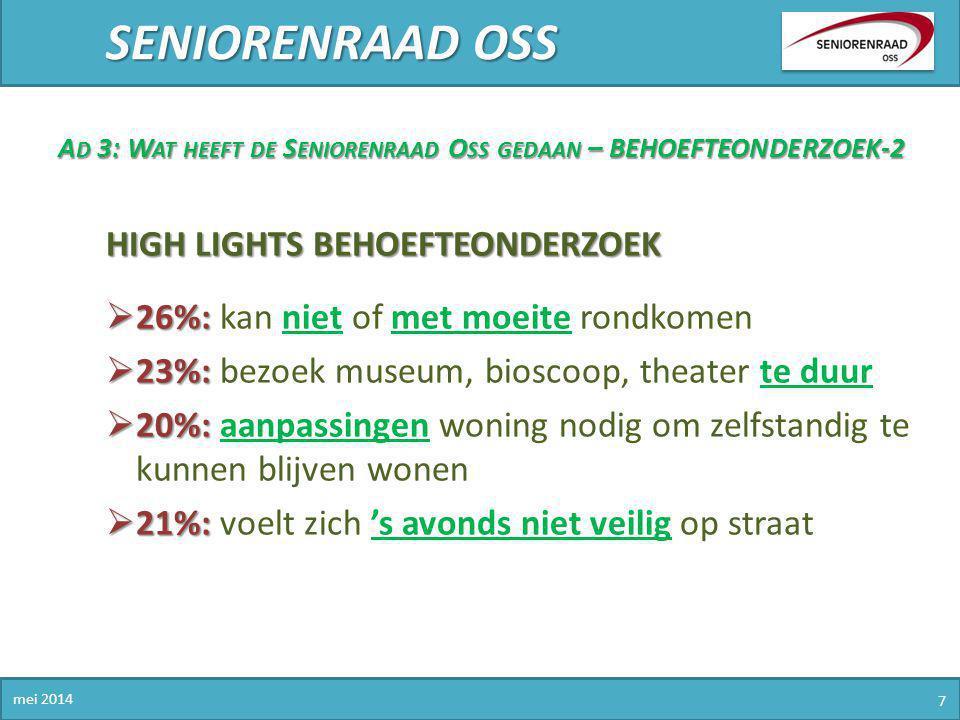 SENIORENRAAD OSS High lights behoefteonderzoek