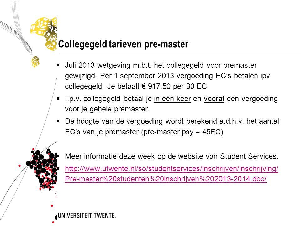 Collegegeld tarieven pre-master