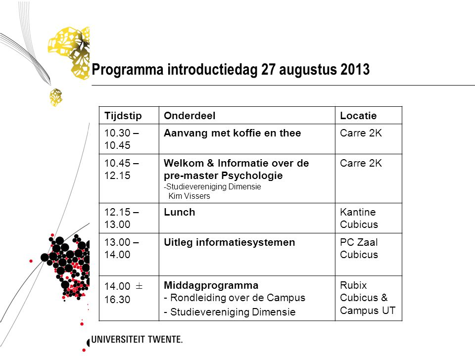 Programma introductiedag 27 augustus 2013
