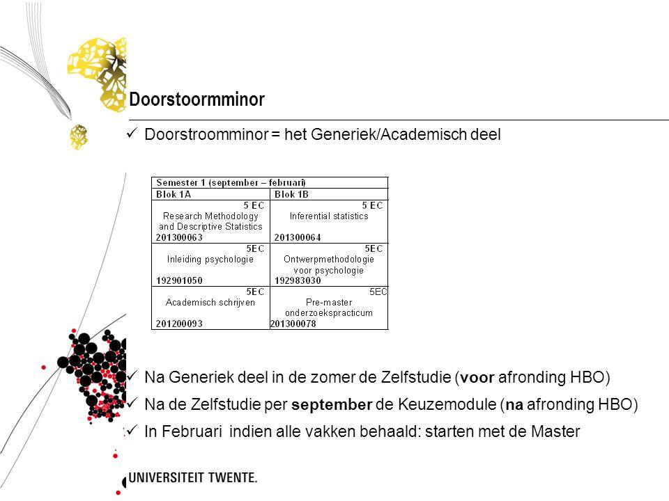 Doorstoormminor Doorstroomminor = het Generiek/Academisch deel