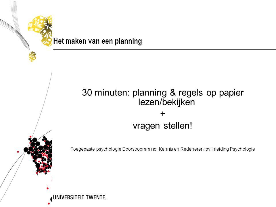 Het maken van een planning