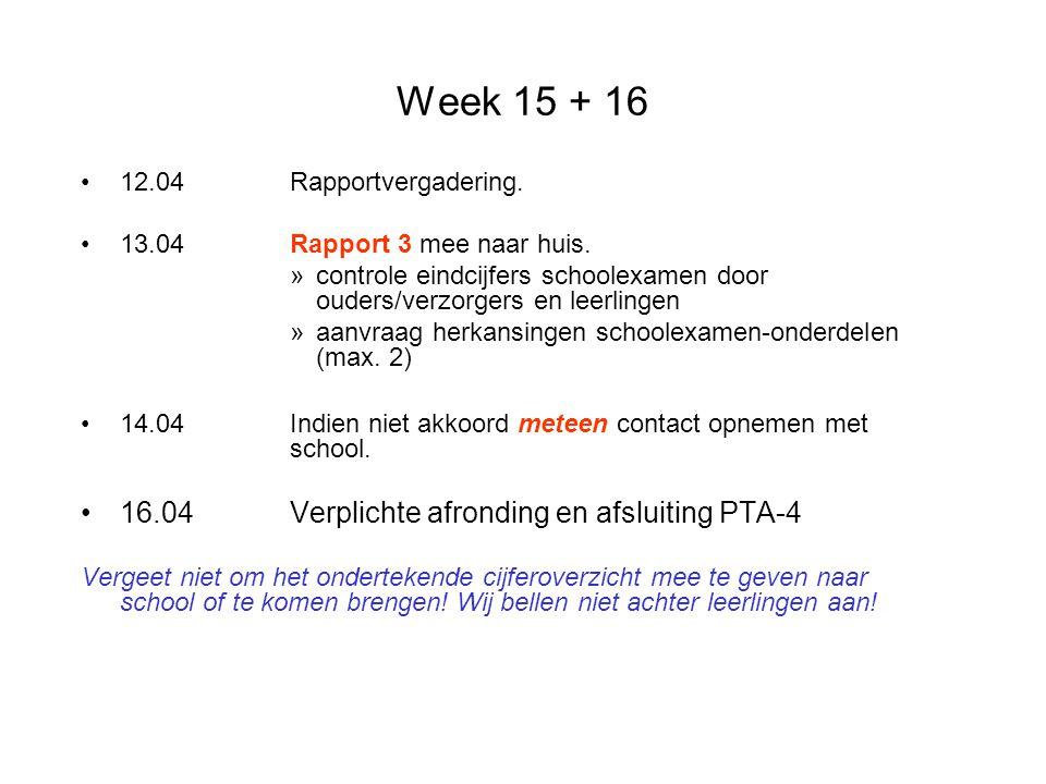 Week 15 + 16 16.04 Verplichte afronding en afsluiting PTA-4