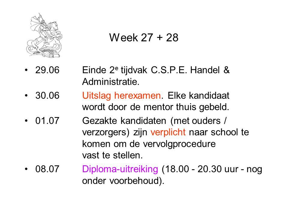 Week 27 + 28 29.06 Einde 2e tijdvak C.S.P.E. Handel & Administratie.