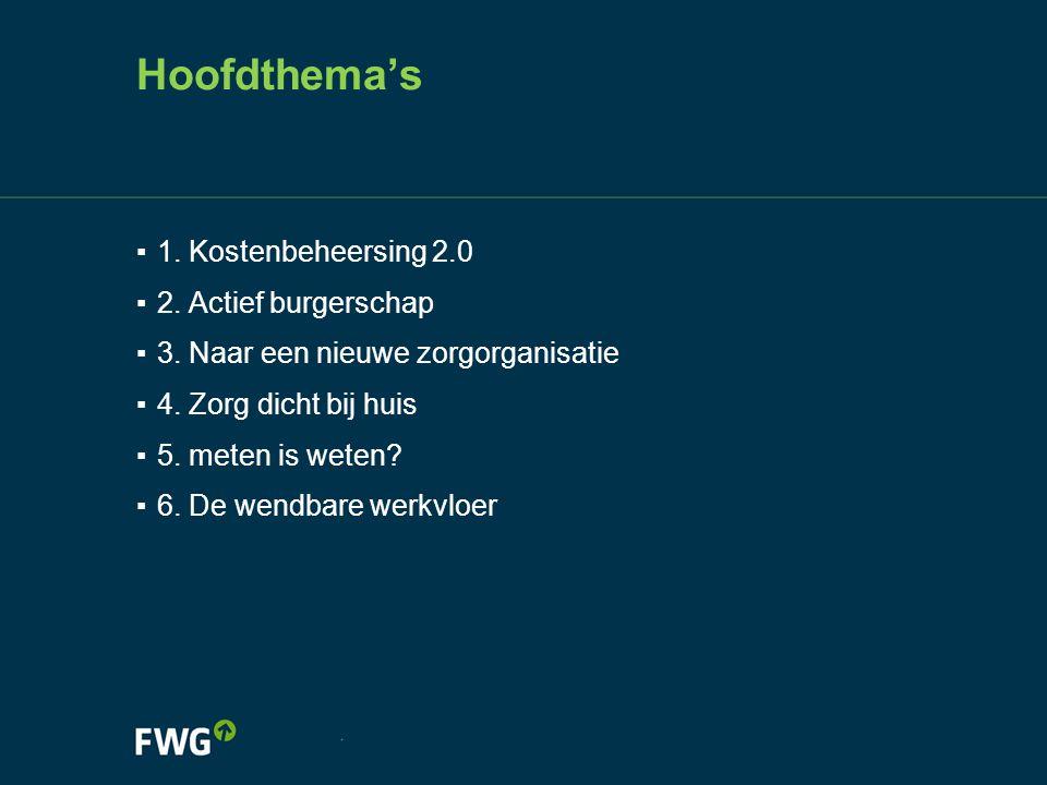 Hoofdthema's 1. Kostenbeheersing 2.0 2. Actief burgerschap