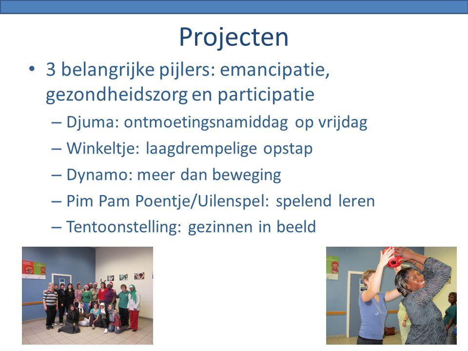 4/04/2017 Projecten. 3 belangrijke pijlers: emancipatie, gezondheidszorg en participatie. Djuma: ontmoetingsnamiddag op vrijdag.