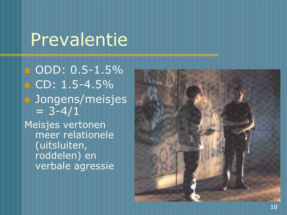 Prevalentie ODD: 0.5-1.5% CD: 1.5-4.5% Jongens/meisjes = 3-4/1