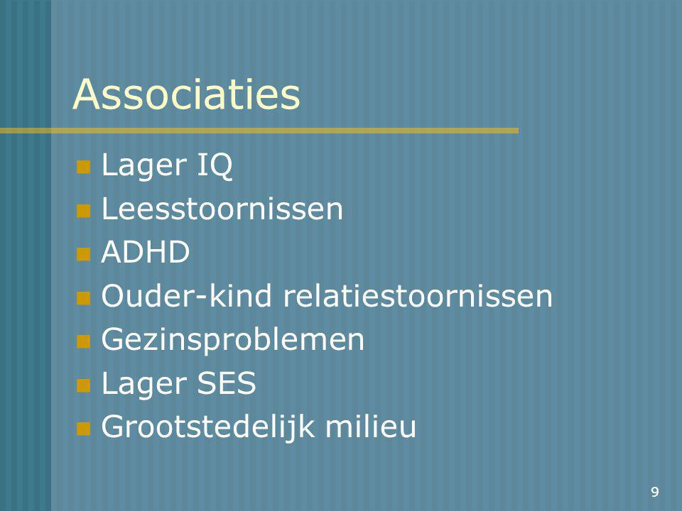 Associaties Lager IQ Leesstoornissen ADHD