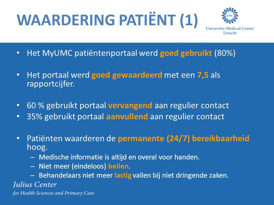 WAARDERING PATIËNT (1) Het MyUMC patiëntenportaal werd goed gebruikt (80%) Het portaal werd goed gewaardeerd met een 7,5 als rapportcijfer.