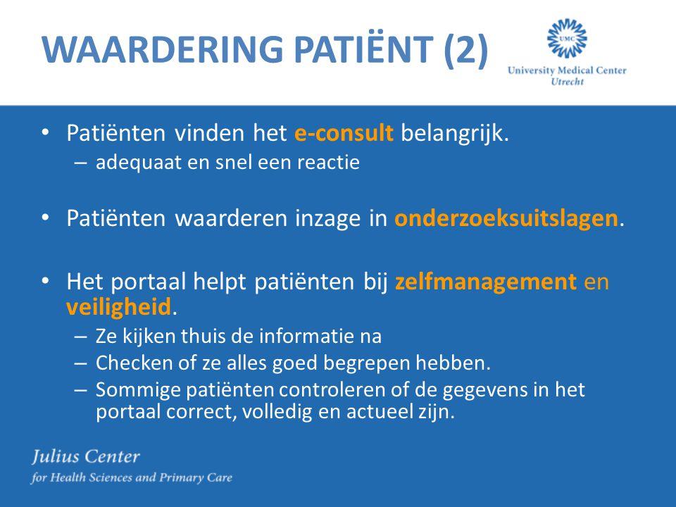 WAARDERING PATIËNT (2) Patiënten vinden het e-consult belangrijk.