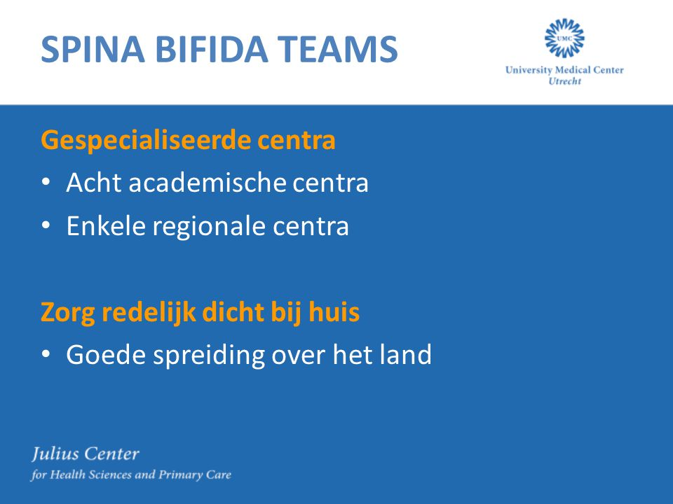 SPINA BIFIDA TEAMS Gespecialiseerde centra Acht academische centra