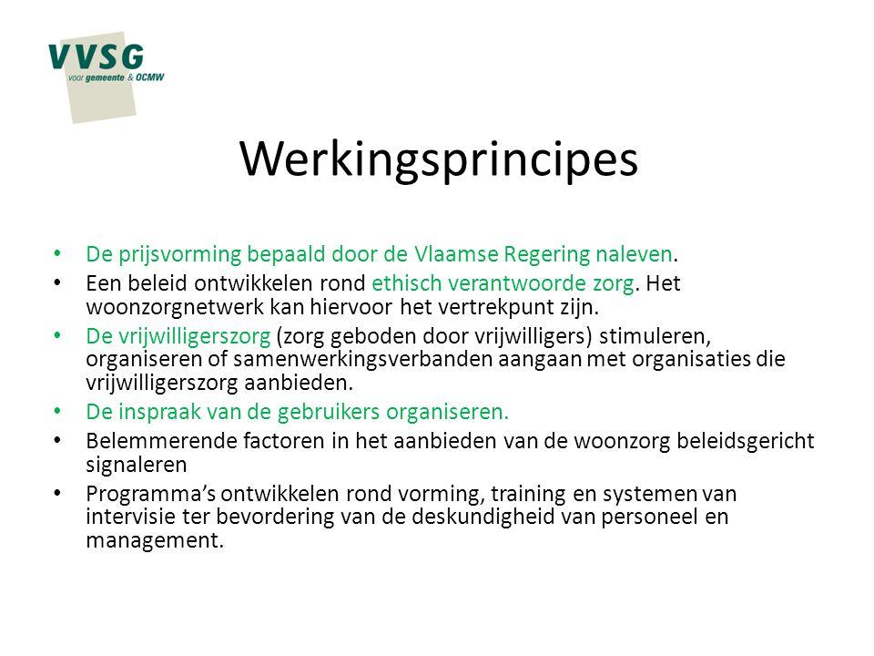 Werkingsprincipes De prijsvorming bepaald door de Vlaamse Regering naleven.