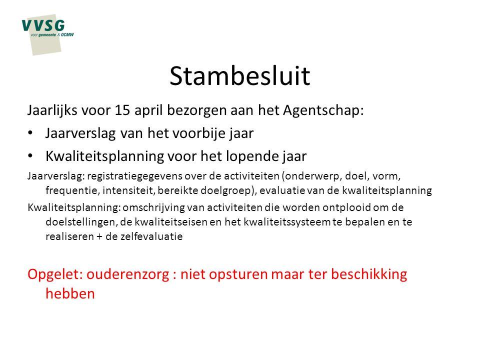 Stambesluit Jaarlijks voor 15 april bezorgen aan het Agentschap: