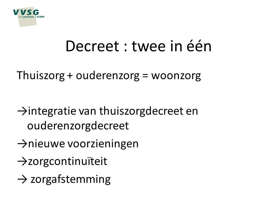 Decreet : twee in één Thuiszorg + ouderenzorg = woonzorg