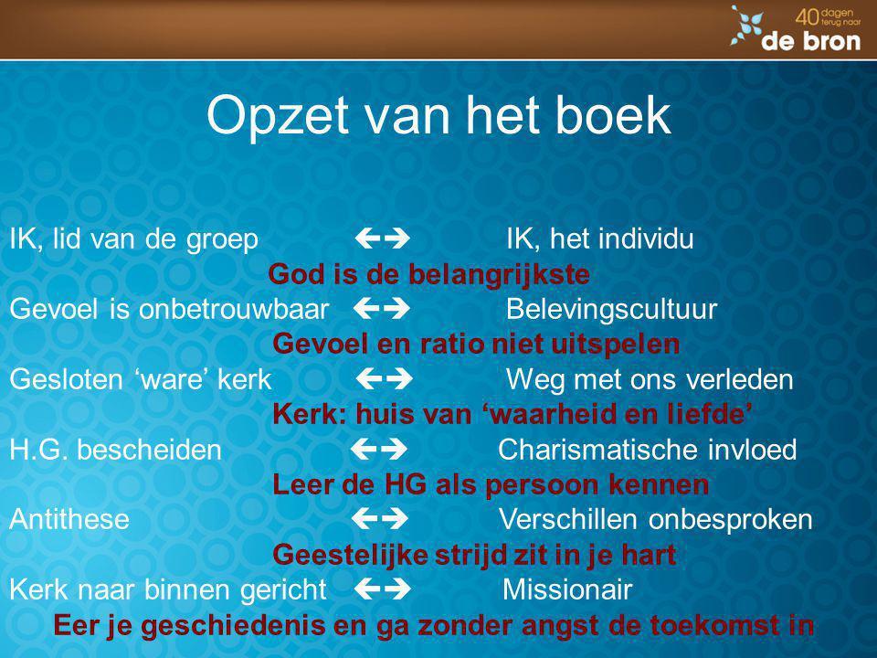 Opzet van het boek IK, lid van de groep  IK, het individu