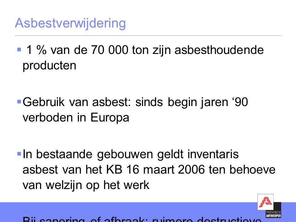 Asbestverwijdering 1 % van de 70 000 ton zijn asbesthoudende producten