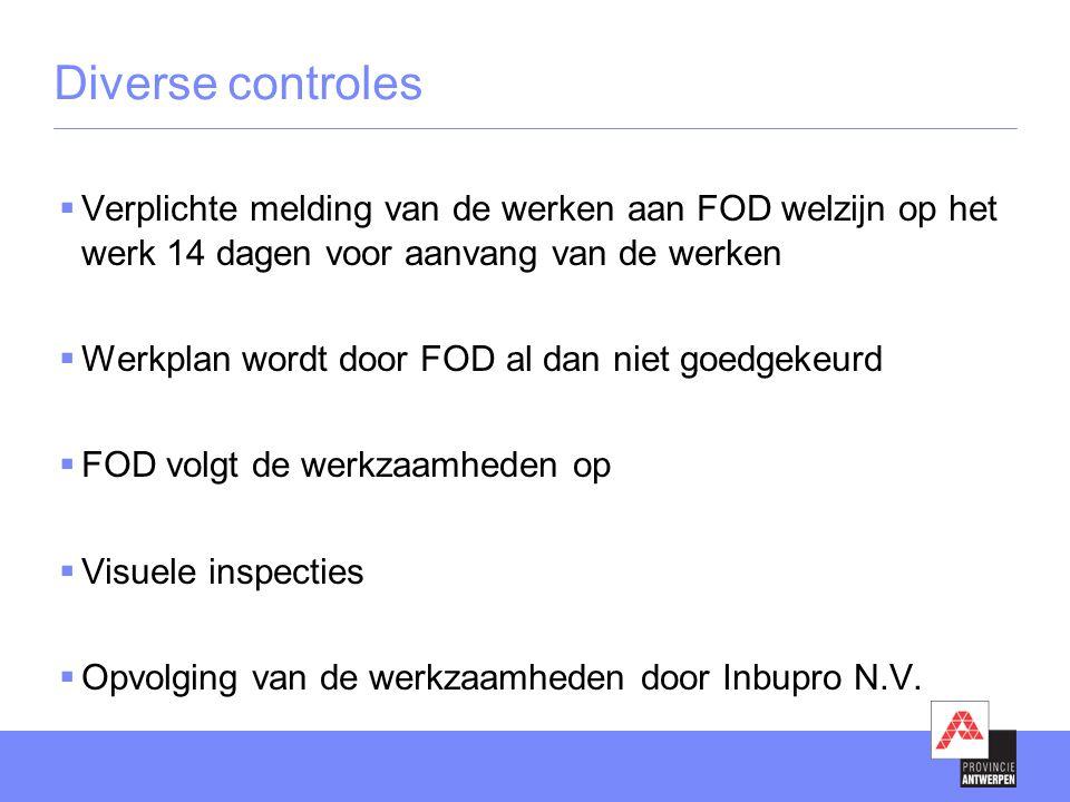 Diverse controles Verplichte melding van de werken aan FOD welzijn op het werk 14 dagen voor aanvang van de werken.