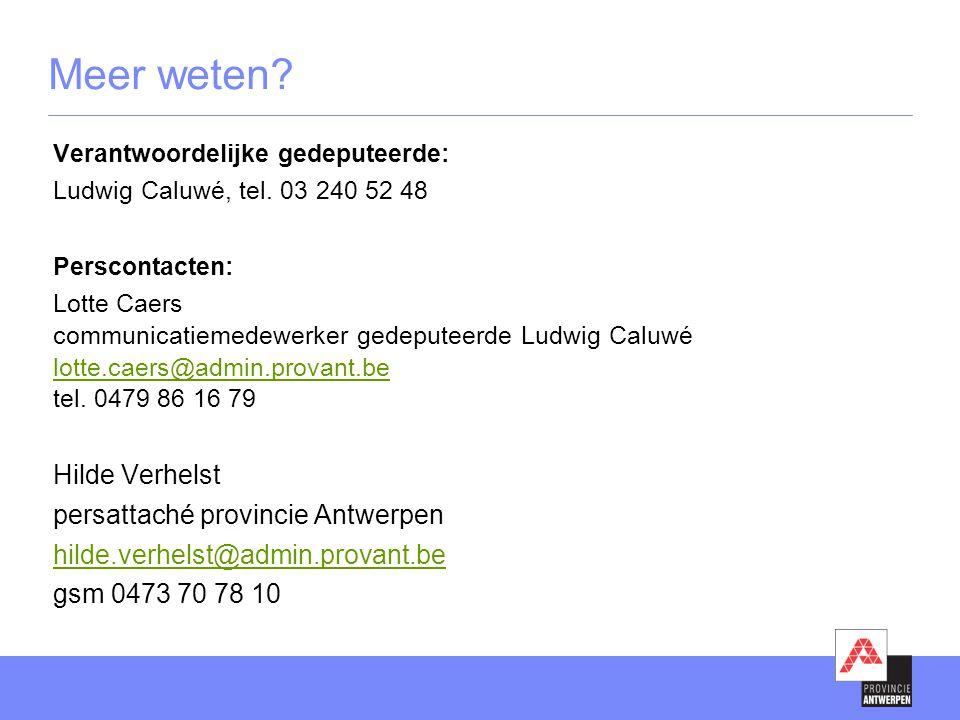 Meer weten Hilde Verhelst persattaché provincie Antwerpen